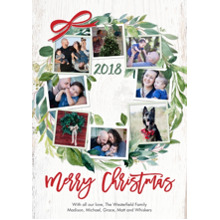 Christmas Photo Cards 5x7 Cards, Premium Cardstock 120lb with Elegant Corners, Card & Stationery -2018 Christmas Wreath Foliage by Tumbalina