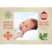 Christmas Photo Cards 5x7 Cards, Premium Cardstock 120lb with Rounded Corners, Card & Stationery -Joy & Cheer Christmas