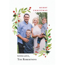 Christmas Photo Cards 5x7 Cards, Premium Cardstock 120lb with Rounded Corners, Card & Stationery -Christmas Red Berries Watercolor by Tumbalina
