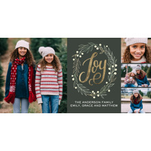 Christmas Photo Cards 4x8 Flat Card Set, 85lb, Card & Stationery -Christmas Wreath Berries
