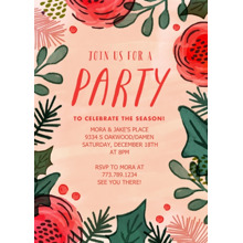 Christmas Party Invitations Flat Glossy Photo Paper Cards with Envelopes, 5x7, Card & Stationery -Holiday Flowers & Foliage