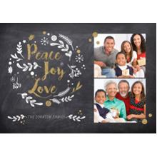 Christmas Photo Cards 5x7 Cards, Premium Cardstock 120lb with Rounded Corners, Card & Stationery -Peace Joy Love Chalkboard