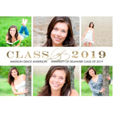 2019 Graduation Announcements 5x7 Cards, Premium Cardstock 120lb with Scalloped Corners, Card & Stationery -2019 Class of Gold by Tumbalina
