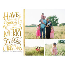 Christmas Photo Cards 5x7 Cards, Premium Cardstock 120lb with Rounded Corners, Card & Stationery -Christmas Merry Little 3 Photo