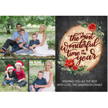 Christmas Photo Cards 5x7 Cards, Premium Cardstock 120lb with Elegant Corners, Card & Stationery -Christmas Script Wood Plaque by Tumbalina