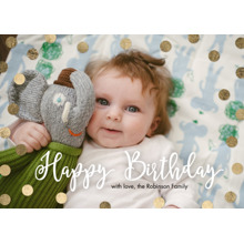 Birthday Greeting Cards 5x7 Folded Cards, Premium Cardstock 120lb, Card & Stationery -Birthday Gold Dots