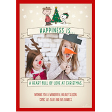 Christmas Photo Cards 5x7 Cards, Premium Cardstock 120lb with Rounded Corners, Card & Stationery -Peanuts Christmas Happiness