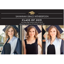 2019 Graduation Announcements 5x7 Cards, Premium Cardstock 120lb with Scalloped Corners, Card & Stationery -2019 Traditional by Tumbalina