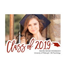 2019 Graduation Announcements 5x7 Cards, Premium Cardstock 120lb with Rounded Corners, Card & Stationery -2019 Scripted by Tumbalina