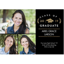2019 Graduation Announcements 5x7 Cards, Premium Cardstock 120lb with Scalloped Corners, Card & Stationery -2019 Grad Laurel by Tumbalina