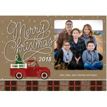 Christmas Photo Cards 5x7 Cards, Premium Cardstock 120lb with Rounded Corners, Card & Stationery -Red Truck Christmas 2018 by Hallmark