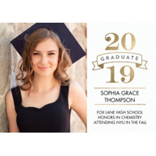 2019 Graduation Announcements 5x7 Cards, Premium Cardstock 120lb with Scalloped Corners, Card & Stationery -2019 Simple Banner by Tumbalina