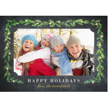 Christmas Photo Cards 5x7 Cards, Premium Cardstock 120lb with Rounded Corners, Card & Stationery -Sprig Border With Lights