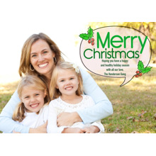 Christmas Photo Cards 5x7 Cards, Premium Cardstock 120lb with Rounded Corners, Card & Stationery -Christmas Holly