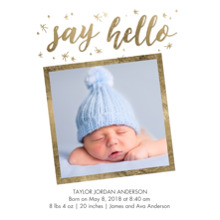 Baby Boy Announcements 5x7 Cards, Standard Cardstock 85lb, Card & Stationery -Baby Gold Stars