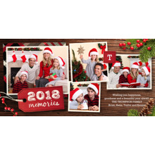 Christmas Photo Cards 4x8 Flat Card Set, 85lb, Card & Stationery -2018 Memories Wood & Pine by Hallmark