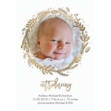 Baby Boy Announcements Flat Glossy Photo Paper Cards with Envelopes, 5x7, Card & Stationery -Baby Gold Wreath