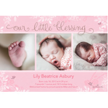 Baby Girl Announcements 5x7 Cards, Premium Cardstock 120lb with Elegant Corners, Card & Stationery -Our Little Blessing - Pink