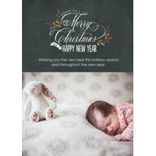 Christmas Photo Cards 5x7 Cards, Premium Cardstock 120lb with Scalloped Corners, Card & Stationery -Berry Merry Chalkboard