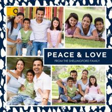 Christmas Photo Cards 5x5 Flat Card Set, 85lb, Card & Stationery -Peace & Love Border
