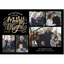 Christmas Photo Cards 5x7 Cards, Premium Cardstock 120lb with Rounded Corners, Card & Stationery -Christmas Merry & Bright Gold