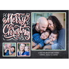 Christmas Photo Cards 5x7 Cards, Premium Cardstock 120lb with Elegant Corners, Card & Stationery -Christmas Rustic Script Frames by Tumbalina