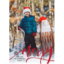 Christmas Photo Cards 5x7 Cards, Premium Cardstock 120lb with Elegant Corners, Card & Stationery -Christmas Merry Red