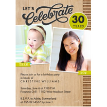 Birthday Party Invites 5x7 Cards, Premium Cardstock 120lb with Elegant Corners, Card & Stationery -Woodgrain Then & Now