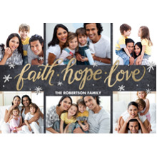 Christmas Photo Cards 5x7 Cards, Premium Cardstock 120lb with Rounded Corners, Card & Stationery -Christmas Faith Hope Love Gold by Tumbalina