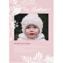 Christening + Baptism Flat Matte Photo Paper Cards with Envelopes, 5x7, Card & Stationery -Celebrate Baptism - Pink
