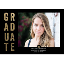 2019 Graduation Announcements 5x7 Cards, Premium Cardstock 120lb with Rounded Corners, Card & Stationery -Graduate Bold Letters by Tumbalina