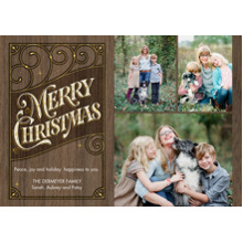 Christmas Photo Cards 5x7 Cards, Premium Cardstock 120lb with Rounded Corners, Card & Stationery -Vintage Christmas Woodgrain