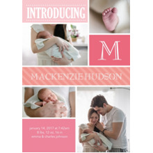 Baby Announcements Flat Matte Photo Paper Cards with Envelopes, 5x7, Card & Stationery -Baby Introduce Initial