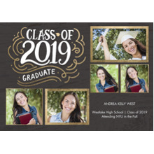 2019 Graduation Announcements 5x7 Cards, Premium Cardstock 120lb with Scalloped Corners, Card & Stationery -2019 Graduate Borders by Tumbalina