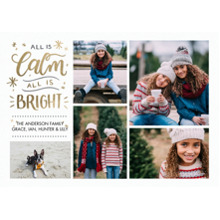 Christmas Photo Cards 5x7 Cards, Premium Cardstock 120lb with Elegant Corners, Card & Stationery -Christmas All is Calm Script