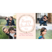 Birthday Party Invites 4x8 Flat Card Set, 85lb, Card & Stationery -Pink Wildflower Wreath