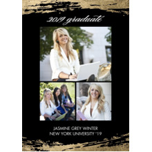 2019 Graduation Announcements 5x7 Cards, Premium Cardstock 120lb with Scalloped Corners, Card & Stationery -2019 Grad Brushstrokes by Tumbalina