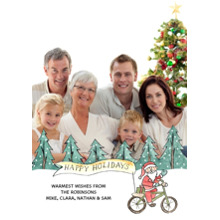 Christmas Photo Cards 5x7 Cards, Premium Cardstock 120lb with Rounded Corners, Card & Stationery -Hipster Santa