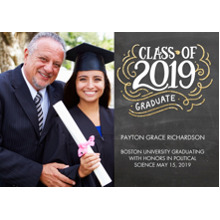 2019 Graduation Announcements 5x7 Cards, Premium Cardstock 120lb with Rounded Corners, Card & Stationery -2019 Class of Hand Lettered by Tumbalina