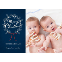 Christmas Photo Cards 5x7 Cards, Premium Cardstock 120lb with Rounded Corners, Card & Stationery -Pretty Merry Christmas Wreath