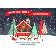 Christmas Photo Cards 5x7 Cards, Premium Cardstock 120lb with Rounded Corners, Card & Stationery -Santa & Reindeer Scene