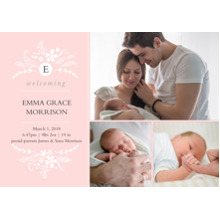 Baby Girl Announcements 5x7 Cards, Premium Cardstock 120lb with Rounded Corners, Card & Stationery -Baby Initial Floral
