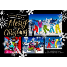 Christmas Photo Cards 5x7 Cards, Premium Cardstock 120lb with Elegant Corners, Card & Stationery -Christmas Snowy Merry Collage