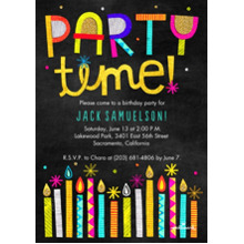 Birthday Party Invites 5x7 Cards, Premium Cardstock 120lb, Card & Stationery -Party Time Glitter Candles