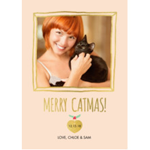 Christmas Photo Cards 5x7 Cards, Premium Cardstock 120lb with Rounded Corners, Card & Stationery -Meowy Xmas