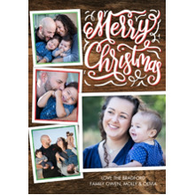 Christmas Photo Cards 5x7 Cards, Premium Cardstock 120lb with Rounded Corners, Card & Stationery -Christmas Rustic Script Frames by Tumbalina