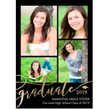 2019 Graduation Announcements 5x7 Cards, Premium Cardstock 120lb with Rounded Corners, Card & Stationery -Graduate Gold 2019 by Tumbalina