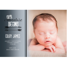 Baby Announcements Set of 20, Premium 5x7 Foil Card, Card & Stationery -Arrow Adventure