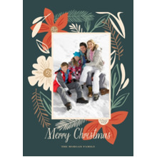 Christmas Photo Cards 5x7 Cards, Premium Cardstock 120lb with Elegant Corners, Card & Stationery -Holiday Florals