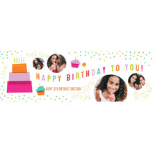 Birthday 1x3 Peel, Stick & Reuse Banner, Home Decor -Cake & Candles